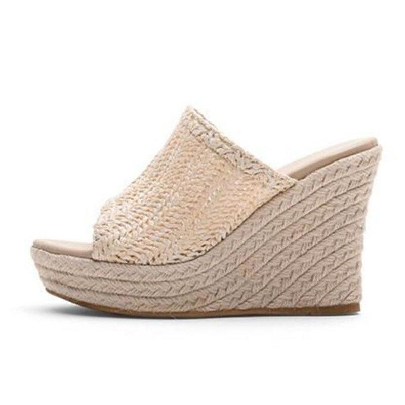 Women Shoes Summer Wedge Slippers High Heel Sandals Simple Sweet Platform Slipper