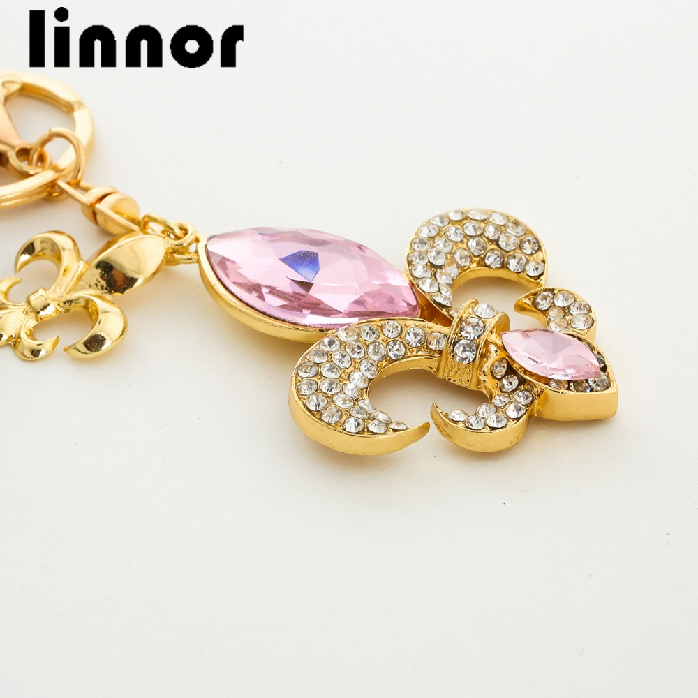 Lucky Navy Ahchor Hook Keychain Crytal Jewelry Rose Gold Metal Key Chain Holder Pendant for Purse Hand Bag Porte Clef Female
