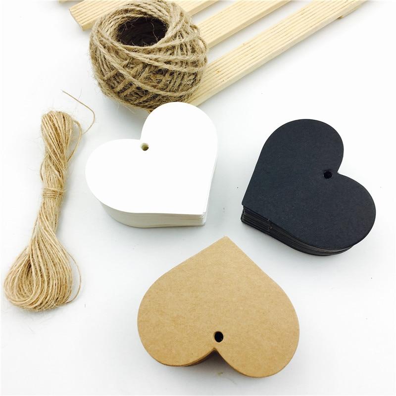 100 pçs/lote em forma de coração branco preto marrom kraft papel etiquetas de jardinagem diy nota do casamento em branco artesanato presente tag 6.5*5cm