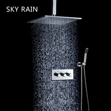 SKY RAIN Brass Exquisite Shower Set Rainfall Overhead 10 Inches Rain Head With 3 Way Valve