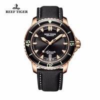 Риф Тигр/RT мужские часы погружения с датой супер световой автоматическое нейлон ремешок розового золота часы RGA3035