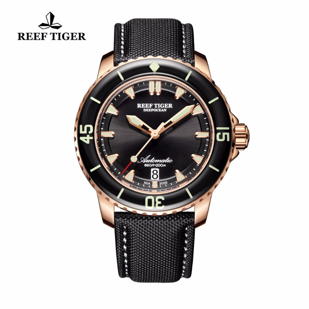 Reef Tiger/RT Mens Dive Watch with Date Super Luminous Automatic Nylon Strap Rose Gold Watches RGA3035 reef tiger rt super luminous dive watches for men rose gold blue dial watches analog automatic watches rga3035