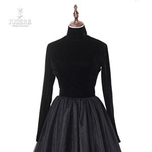 Image 4 - Jusere prawdziwe zdjęcia wysokiej szyi powrót otwórz czarne suknie balowe jedwab aksamit linia wieczorowa sukienka z ogonem szata de soiree 2019