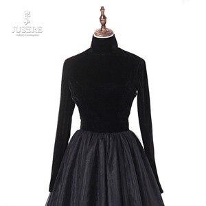 Image 4 - Jusere 리얼 포토 하이 넥 백 오픈 블랙 댄스 파티 드레스 실크 벨벳 테일 로브 드 soiree 2019 라인 이브닝 드레스