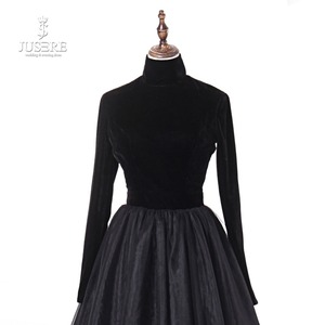 Image 4 - Женское вечернее платье с высоким воротом Jusere, черное шелковое бархатное платье трапеция с открытой спиной, платье для выпускного вечера, 2019