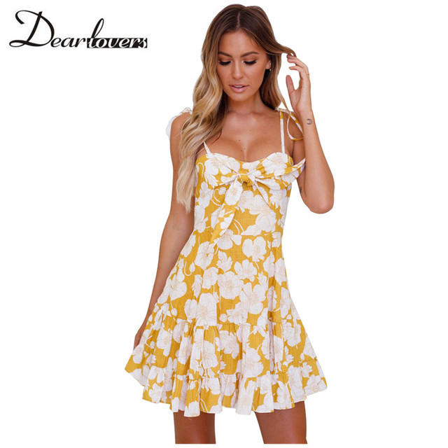 b95b82c73d249 Dear lovers 2018 New Women Mini Dress Yellow Floral Print Tassel Tie Sweet  Sundress LC220356 Navy