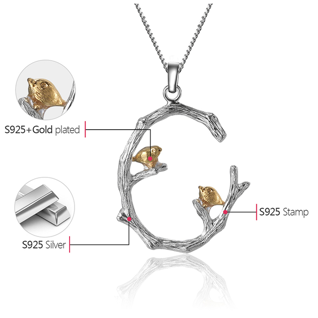 Lotus Fun Real 925 Sterling Silver Natural Original Fine Jewelry 18K Gold Bird on Branch Pendant without Necklace for Women Gift 4
