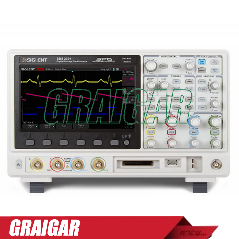 SIGLENT SDS2304 Oscilloscope 8 inch TFT LCD 300MHz 4 Channels SPO Technology Digital Storage Oscilloscope with 28M Memory Depth