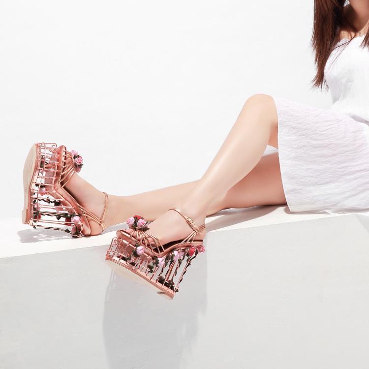 Новая женская обувь; сезон весна лето; модные роскошные свадебные туфли с Т образным ремешком и завязками в виде птичьей клетки; высококачес... - 3
