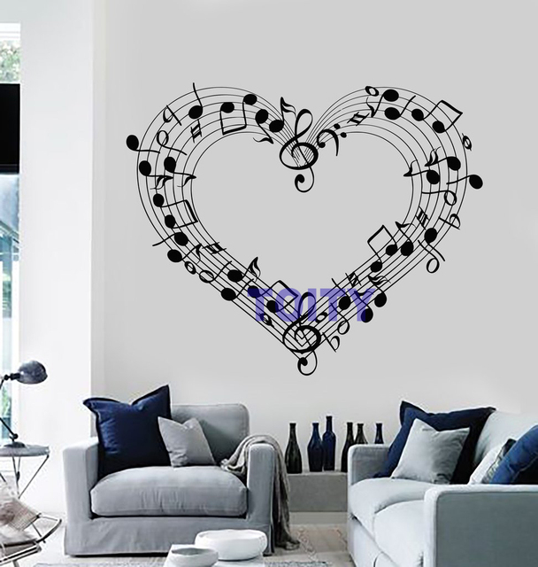music notes love heart wall decal sheet coolest musical rhythm note