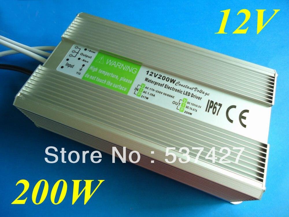 ФОТО IP67 Waterproof Power Supply Driver 12V 16.7A 200W AC180~240V Input CE&RoHS Certified