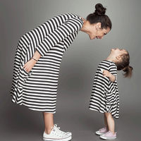 2017 Summer Family Matching Outfits Fashion Striped Mommy And Me Dresses Ankle Length Casual Mother Daughter