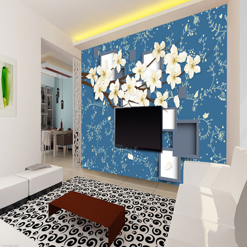 3D Wall Murals Stereoscopic Wallpaper 3D Warm Sakura TV Background Home Decor Wall Paper for Living Room Study Wall Murals 3D