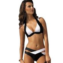 2016 Women Bikini Set Sexy Triangle High Neck Bandage Brazilian Bikini Bikini Swimwear Push Up Retro Halter Swimsuit Girl