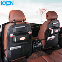 Leather Car Seat Back Folding Portable Storage Bag Multi-Use Car Organizers Black Car Portable Storage Bags Car Seat Organizer