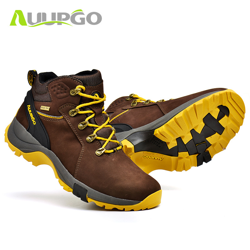 High Top Leather Hiking Shoes Men Waterproof Antiskid Warm snow boots Outdoor Sports Brand Hunting Mountain