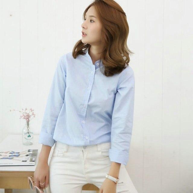 Autumn Winter High Quality Long Sleeve Cotton Linen Shirt Korean Women  Shirts Casual Stand Collar Blouse