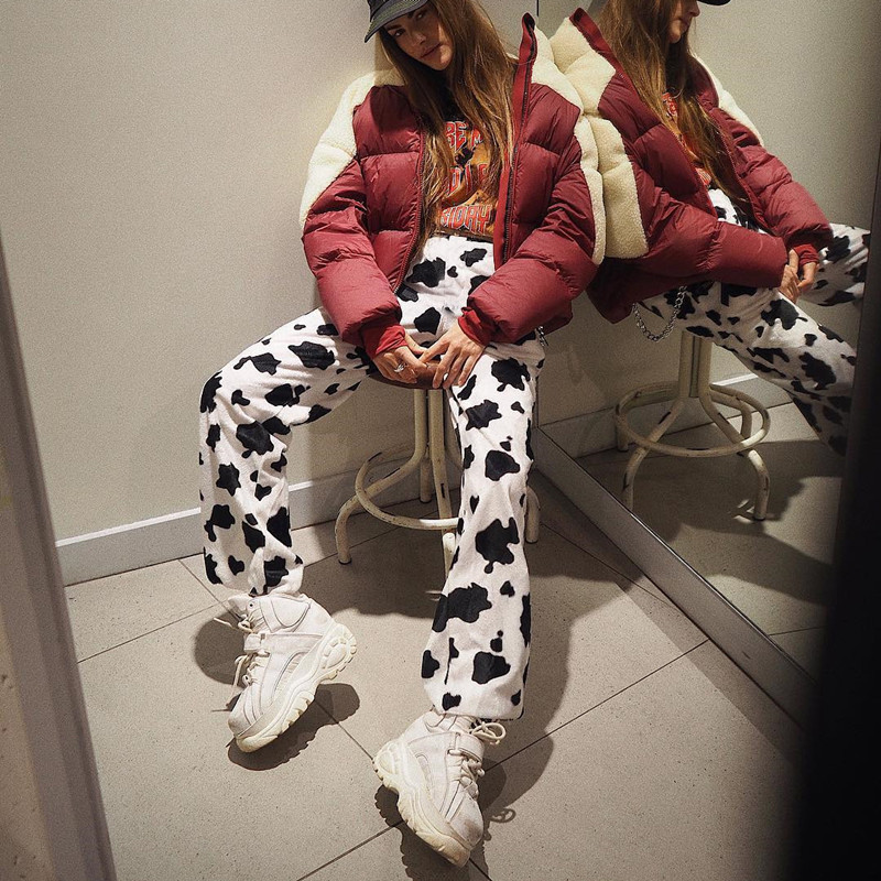 Streetwear White Cow Spot Pants Women Autum Trousers Fashion Womens Bottoms Sexy High Waist Full Length Sexy Flare Bottom Pants