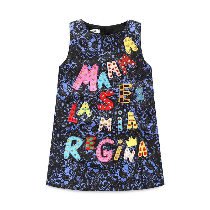 New 2017 famous brand Baby Girl green magic jacquard Dress Girls Summer Clothing Kids Sleeveless vintage letter print dresses jacquard green label silk colors cyan [pack of 3 ]