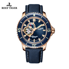 цена Reef Tiger/RT Luxury Dive Watches for Men  Rose Gold Tone Automatic Blue Watches Nylon Strap RGA3039 онлайн в 2017 году