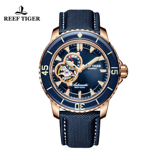 Reef Tiger/RT Luxury Dive Watches for Men  Rose Gold Tone Automatic Blue Watches Nylon Strap RGA3039