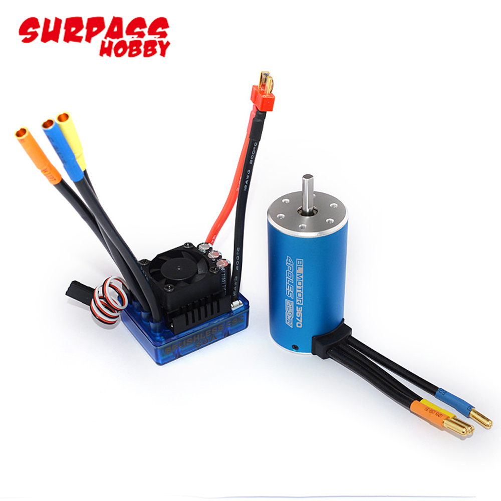 2pcs/set <font><b>3670</b></font> 2650KV 2150KV <font><b>1900KV</b></font> 4 poles Sensorless Brushless Motor with 120A ESC Combo Set for 1/8 RC Car Truck image