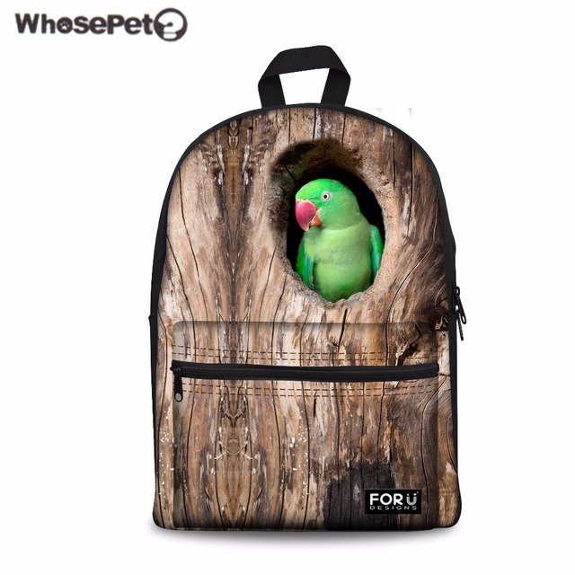 WHOSEPET Women Backpack 3D Funny Parrot Birds School Bag for Teenager Girls  Canvas Rucksack Kids Bookbag 76ccd58f739ac