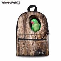 WHOSEPET Women Backpack 3D Funny Parrot Birds School Bag for Teenager Girls Canvas Rucksack Kids Bookbag Travel Daypack Mochila