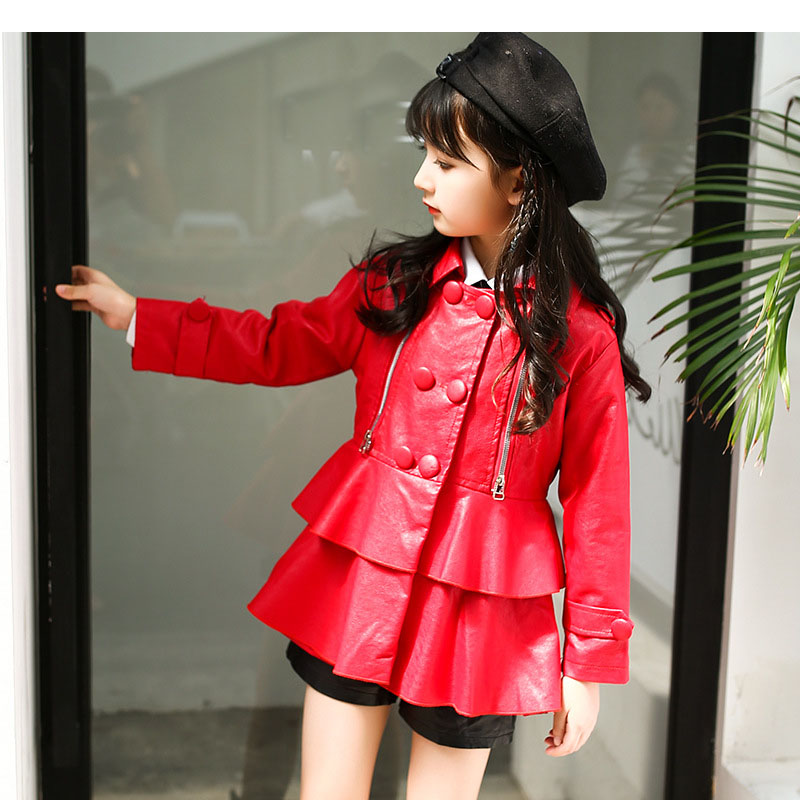 80c1bc3cbc8 autumn fashion kids leather jacket girls PU jacket children leather outwear  for girl baby girl jackets and coats 2017 trend coat