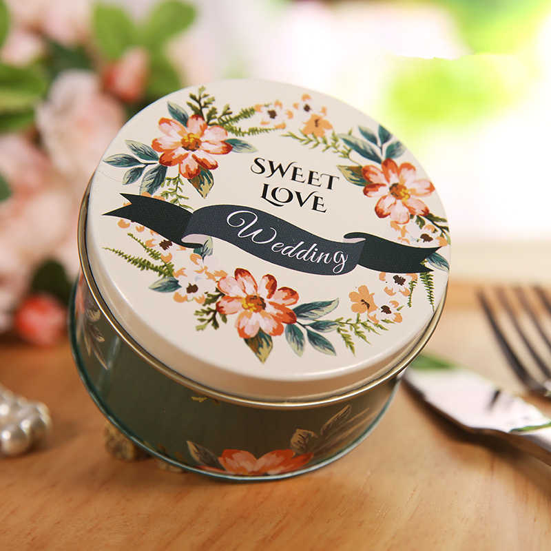 6pcs/lot Mini Tin Wedding Candy Storage Boxes Cookie Metal Box Gift Cans Round Food Container Coin Earrings Box Party Favor Case