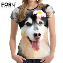 FORUDESIGNS t-shirt Women tshirt Husky Dog Printing Stupid tshirts funny t shirts Clothes Tops Tees Harajuku Big Size XXL