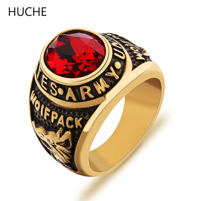 huche vintage united states army wolfpack military rings for mens stainless steel big rings biker punk gold color jewelry zbr087 - Military Wedding Rings