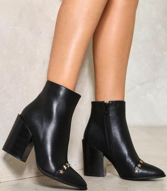 Spring Hot Little Gold Stars Women Pointy Toe Ankle Boots Concise Style  Ladies Chunky Heel Boots Knight Boots 26601ff3e