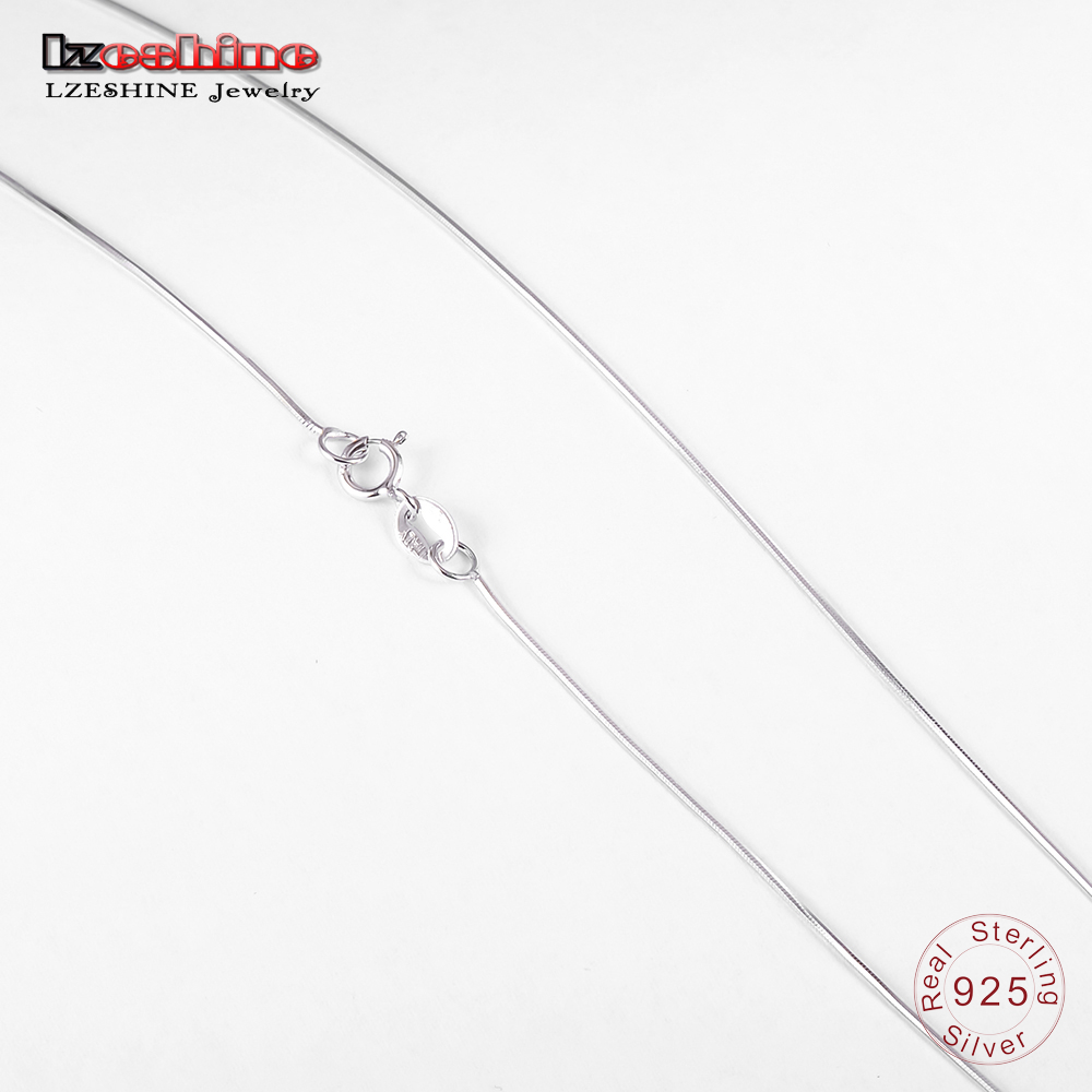 LZESHINE Hot Sale Real 925 Sterling Silver Snake Chain Necklace Jewelry Accessories Men Women Basic Necklace 40-45cm T030028