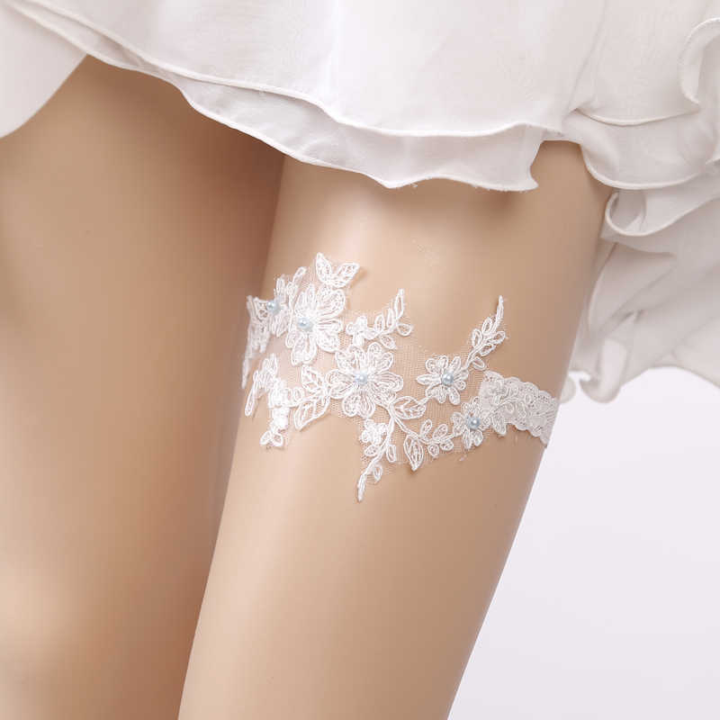 Wedding Garter Rhinestone Beading White Embroidery Floral Sexy Garters for Women/Female/Bride Thigh Ring Bridal Leg Garter