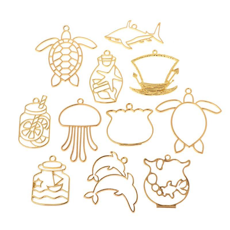 11 Pcs/Set DIY Epoxy Resin Crafts UV Resin Metal Frame Jewelry Making Necklace Pendant Creative Turtle Dolphin Animals Shape