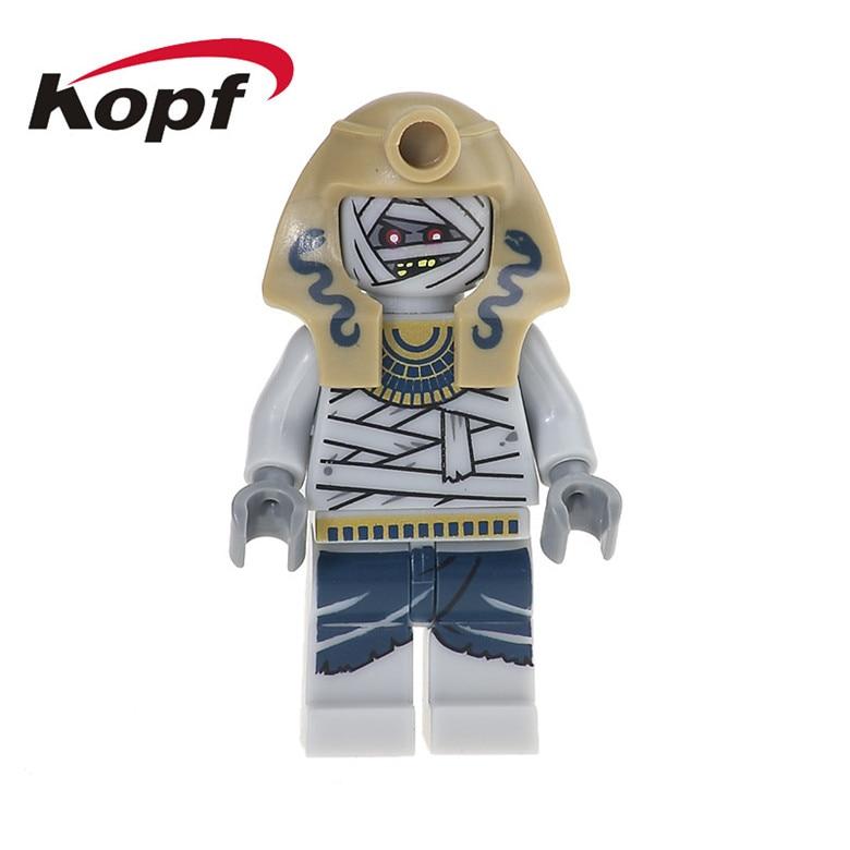 50Pcs KL046 Super Heroes Mummy With Red Snake Medieval Egyptian Atlantis Aztec Warrior Bricks Building Blocks Children Gift Toys