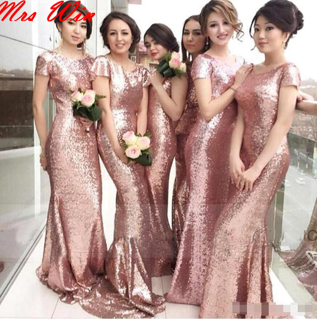 8911996e19179 Blushing Mermaid Modest Bridesmaid Dresses Sleeves Sweep Train Long Country  Western Formal Wedding Party Dresses Gowns Custom