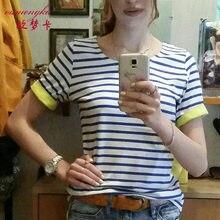 OUMENGKA nouvelle mode femmes marque rayé T-shirt pour femmes décontracté manches courtes coton femme hauts noir gris bleu xxxl xxxxl