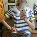 Nova Marca de Moda das Mulheres T-shirt Listrada Para As Mulheres Ocasional Curto xxxl Além de Algodão de manga comprida Feminina Tops Preto Cinza Azul tamanho