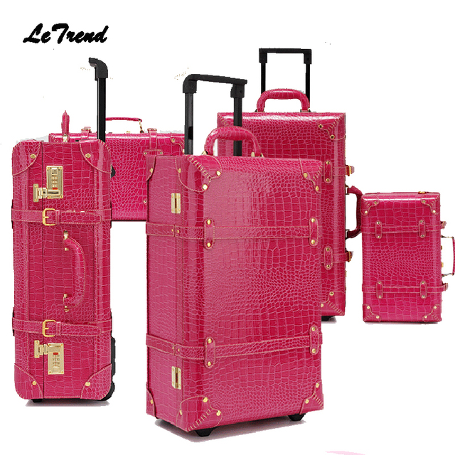 Letrend Vintage Suitcase Wheels Rolling Luggage Set Retro Leather Cabin  Trolley Spinner Carry On Travel Bag Women Password Trunk 77bcfc5dd5b7