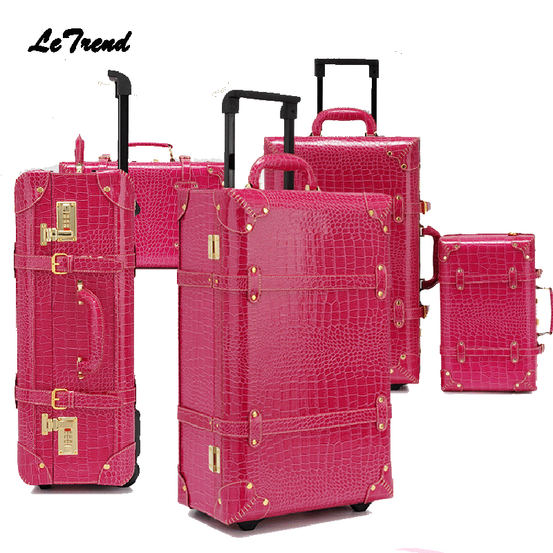 Letrend Vintage Suitcase Wheels Rolling Luggage Set Retro Leather Cabin Trolley Spinner Carry On Travel Bag Women Password Trunk
