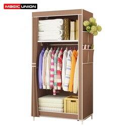 União mágica simples guarda-roupa estudante dormitório único armário de armazenamento de acabamento armário de armazenamento tubo de aço guarda-roupa