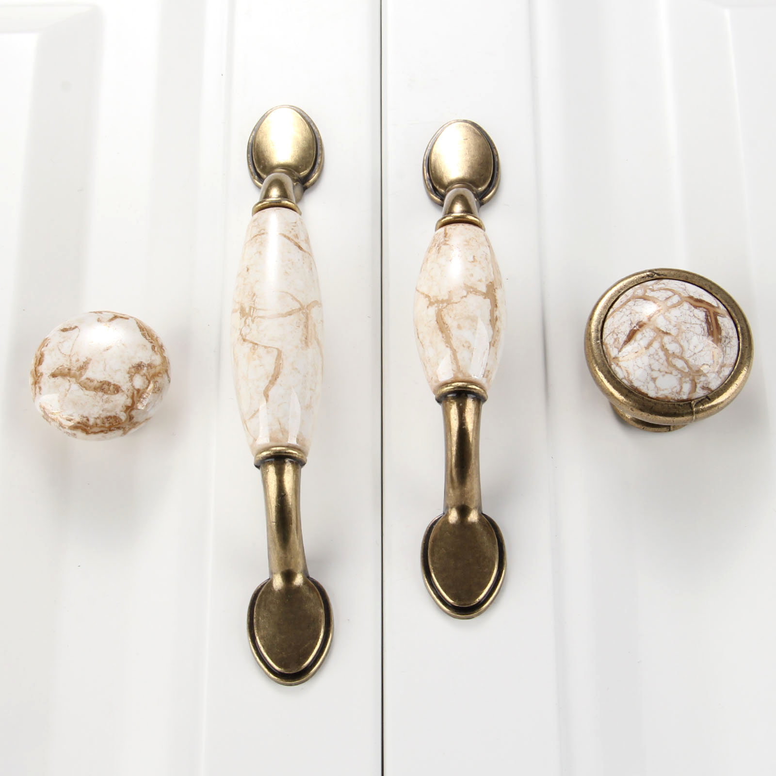 Antique Furniture Handle Ceramic Drawer Door Knob Closet Cupboard Pull Handle Cabinet Knobs and Handles Modern Kitchen Handle retro vintage kitchen drawer cabinet door flower handle furniture knobs hardware cupboard antique metal shell pull handles 1pc