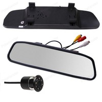 4.3 inch 2ch video in Car LCD Rear view Mirror Monitor with Parking Assistance 8 LED Night Vision Reversing camera