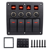 4 Gang Boat Rocker Switch Panel Car Switch Panel LED Switch USB 120W 260W Marine Switch Panel CY679