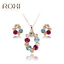 Roxi alta calidad sistemas de la joyería de moda al por mayor de la muchacha de kawaii floral mixto arcilla del polímero joyería conjuntos collar aretes