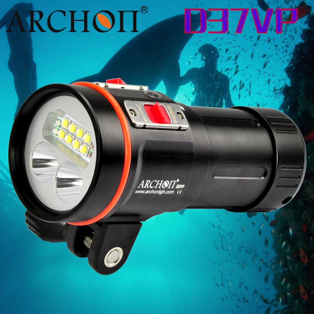 Free Shipping ARCHON W42VR D36VR Upgraded version D37VP W43VP 5200lm Underwater Video Light Diving Flashlight Torch 100% original archon d37vp update d36vr w42vr u2 uv multifunction underwater photographing sea diving flashlight video light