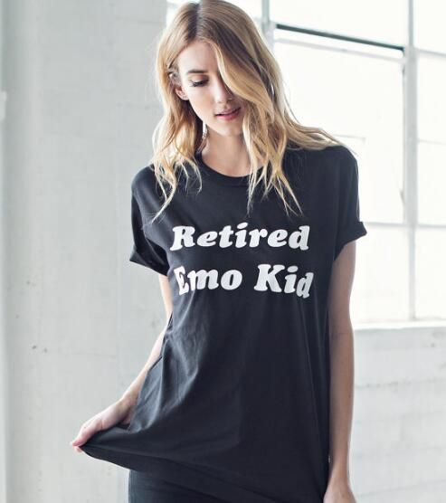 6d01376711 RETIRED EMO KID T Shirt Ladies Casual Hipster Tee Tumblr Cotton Girl cute  fashion Tops Graphic Clothing Outfits t shirts S 3XL-in T-Shirts from  Women's ...