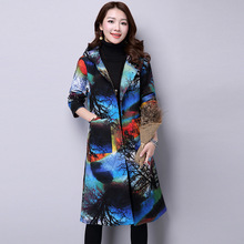Autumn Winter Fashion Overcoat Women Hooded Long Parkas Full Sleeves Linen Cotton Jacket Coat Chinese Style Thick Long Overcoat